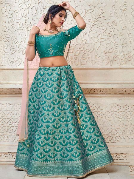 Teal Blue Banarasi Silk Embroidered Party Lehenga Choli