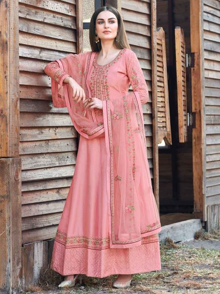 Salmon Pink Silk Embroidered Party Lawn Kameez