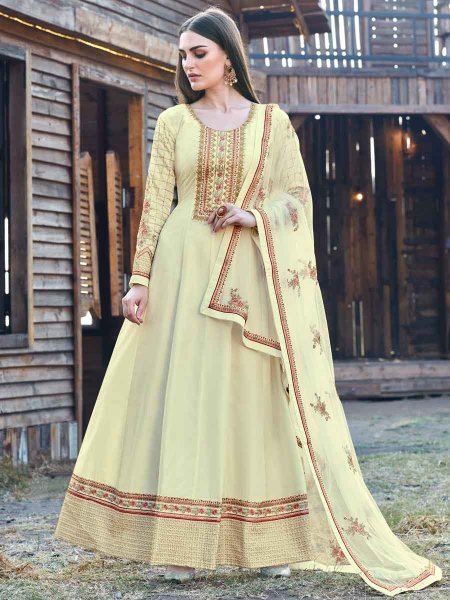Cream Yellow Silk Embroidered Party Lawn Kameez
