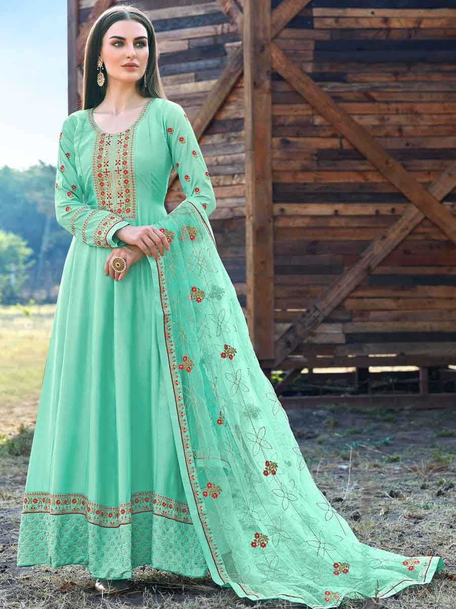 Turquoise Blue Silk Embroidered Party Lawn Kameez