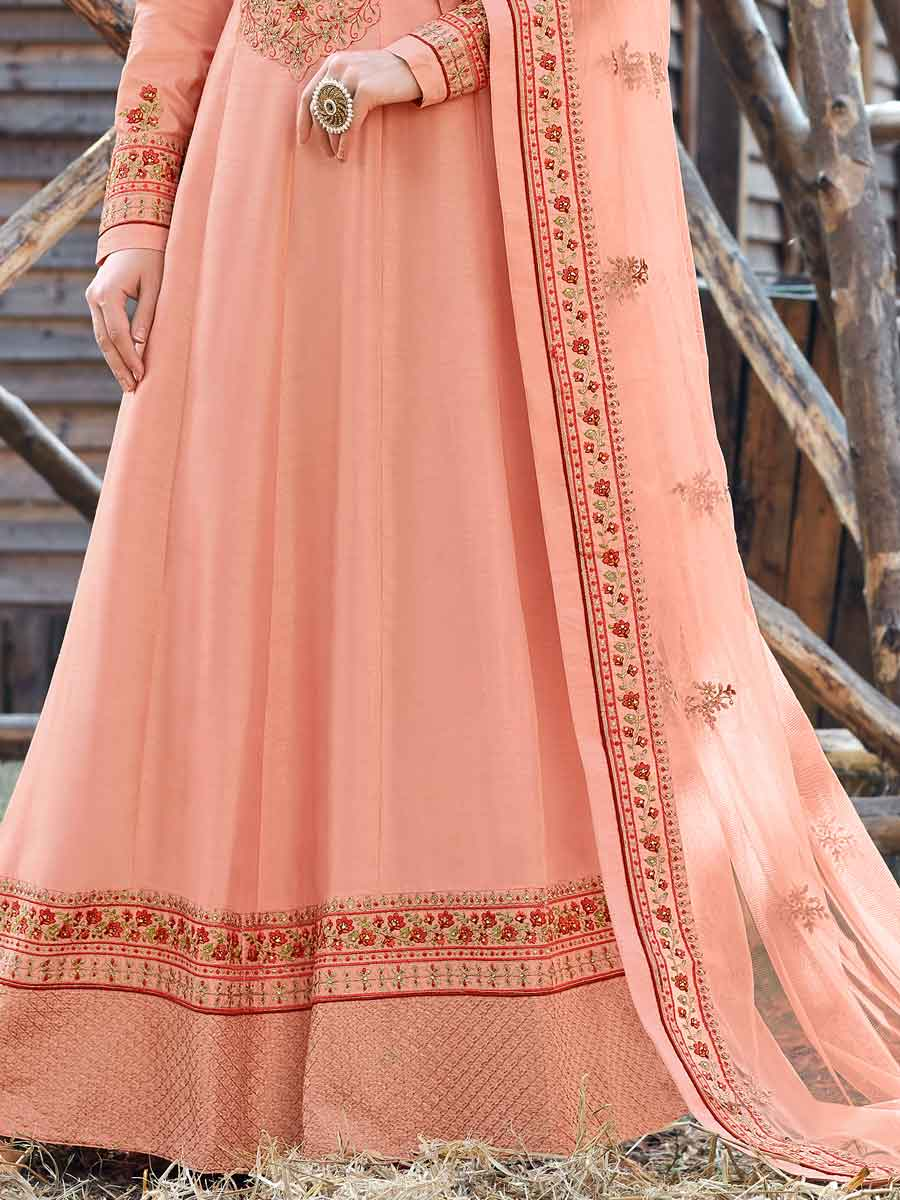 Coral Pink Silk Embroidered Party Lawn Kameez
