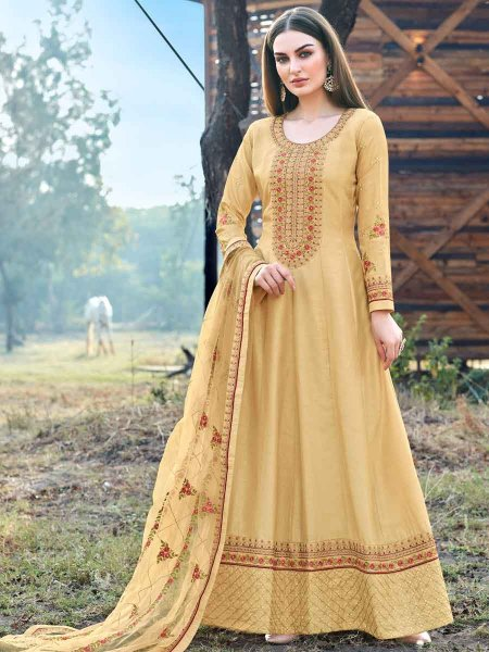 Buff Yellow Silk Embroidered Party Lawn Kameez