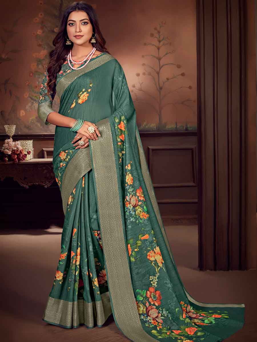 Teal Green Linen Cotton Printed Party Saree