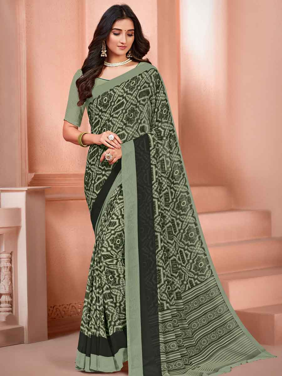 Light Asparagus Green Faux Georgette Printed Casual Saree