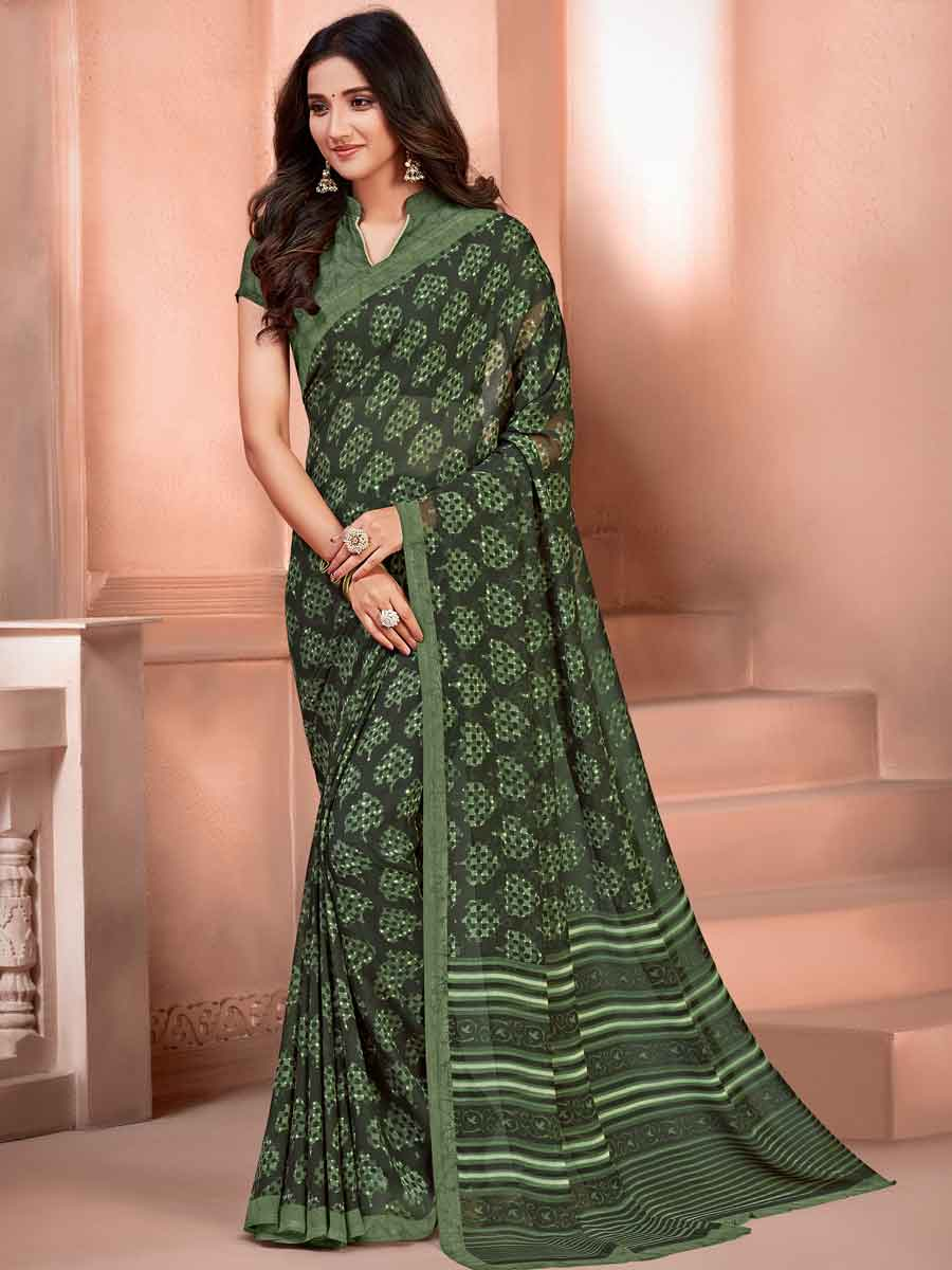 Army Green Faux Georgette Printed Casual Saree