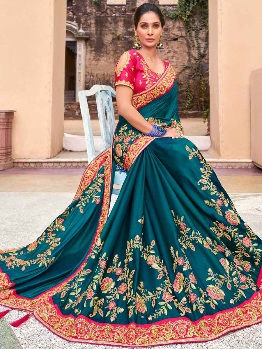 Teal Blue Satin Silk Embroidered Festival Saree