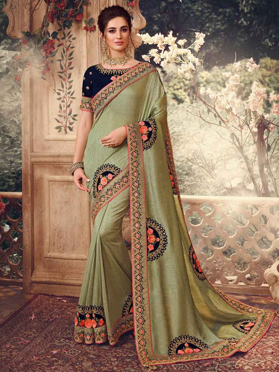 Asparagus Green Silk Embroidered Party Saree