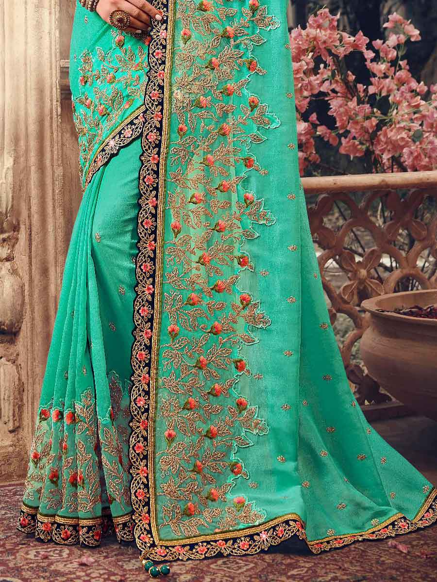 Persian Green Silk Embroidered Party Saree