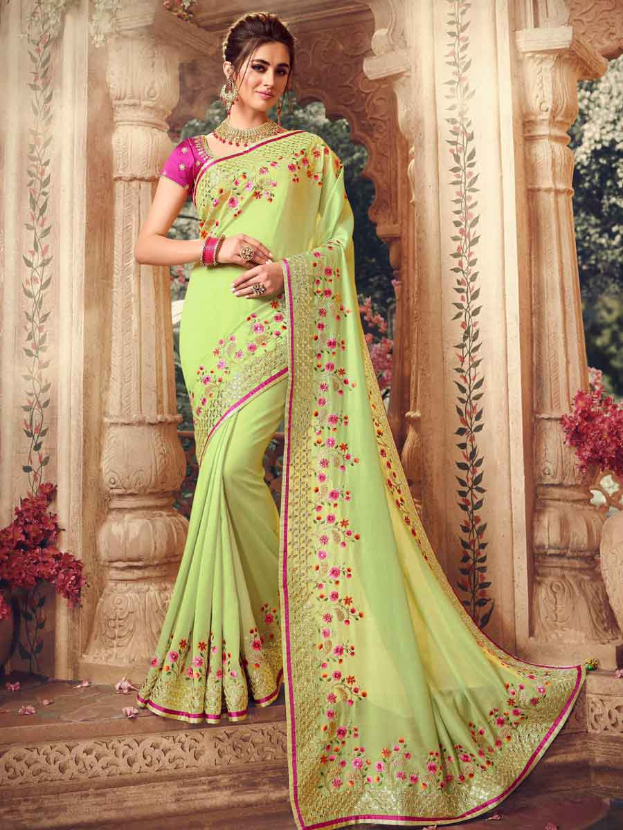 Lime Green Silk Embroidered Party Saree