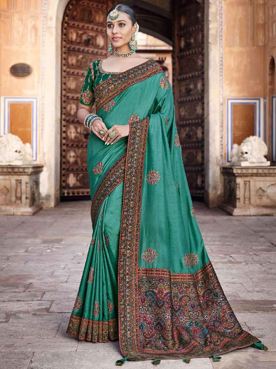 Persian Green Silk Embroidered Festival Saree