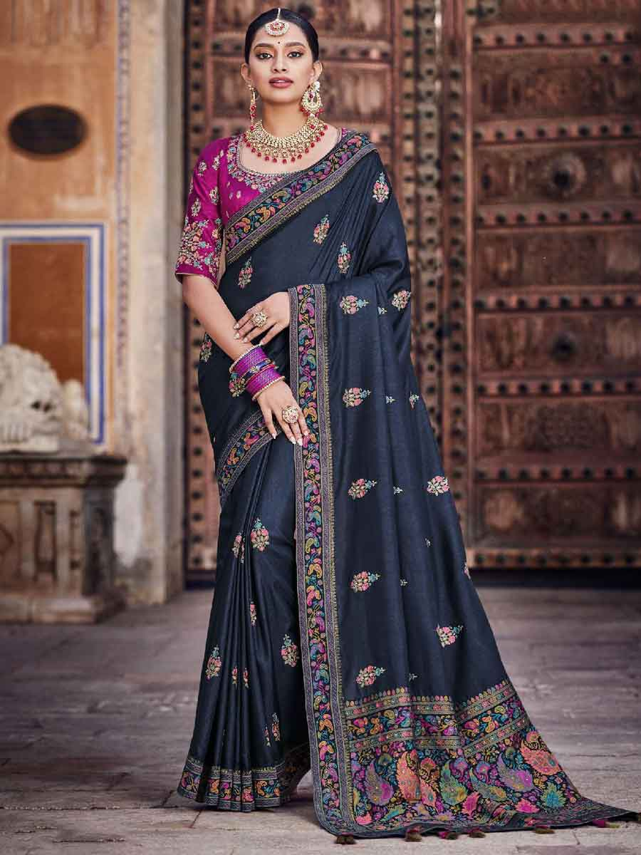 Navy Blue Silk Embroidered Festival Saree