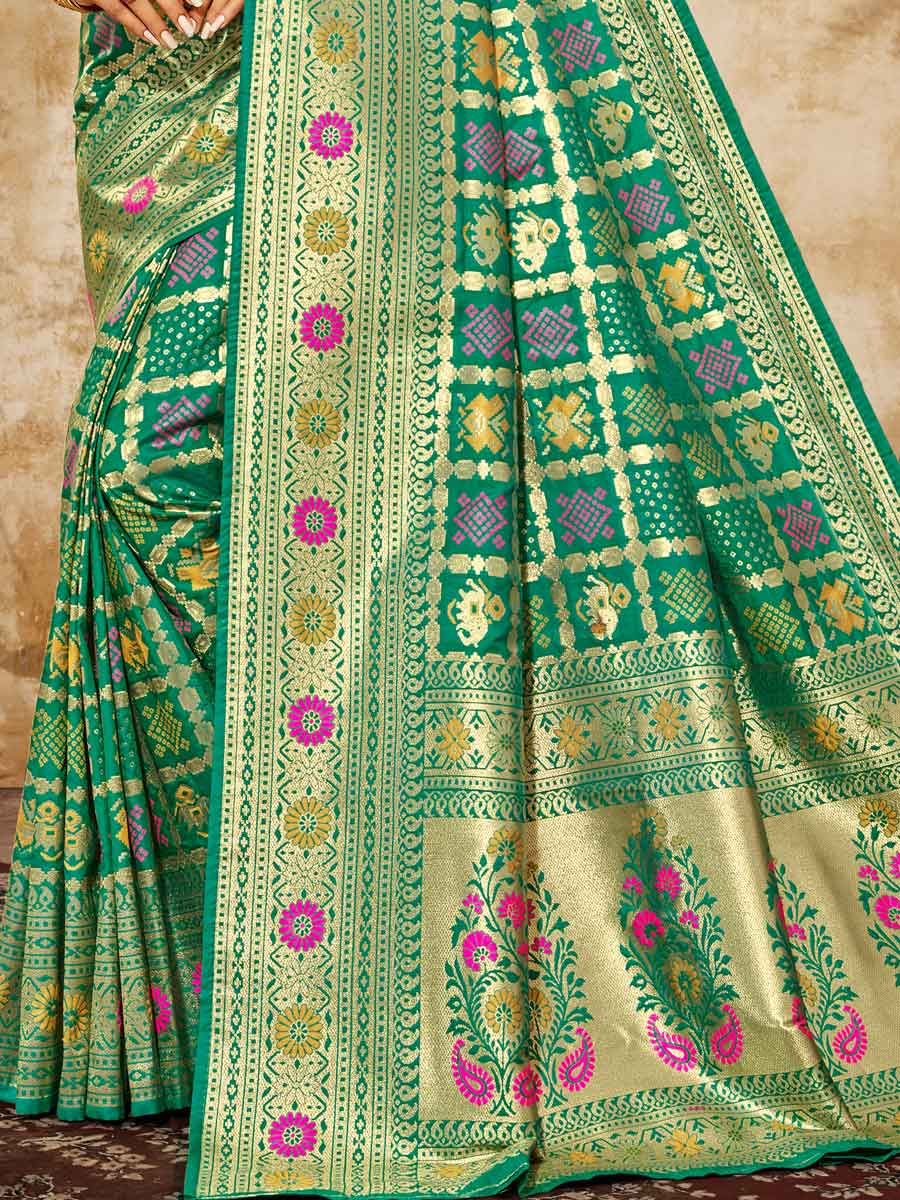 Sea Green Jacquard Silk Handwoven Festival Saree