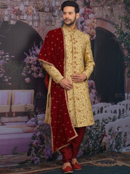 Golden Yellow Jacquard Silk Embroidered Wedding Sherwani