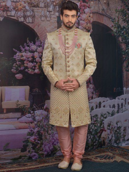 Golden Yellow Art BanarasI Silk Embroidered Wedding Sherwani