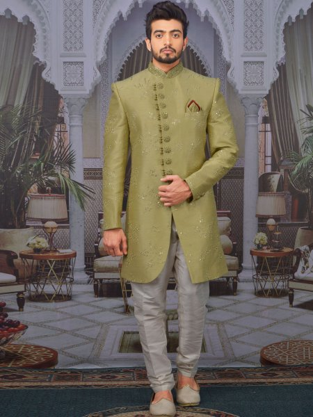 Asparagus Green Art BanarasI Silk Embroidered Wedding Sherwani