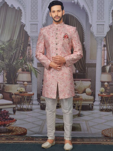 Light Pink Art BanarasI Silk Embroidered Wedding Sherwani