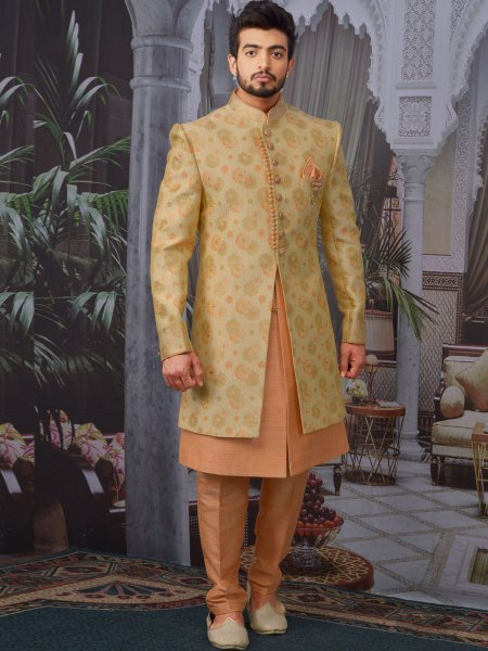 Golden Yellow and Salmon Orange Jacquard Silk Handwoven Wedding Sherwani