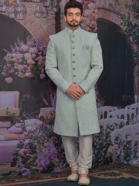 Sky Blue Faux Georgette Embroidered Wedding Sherwani