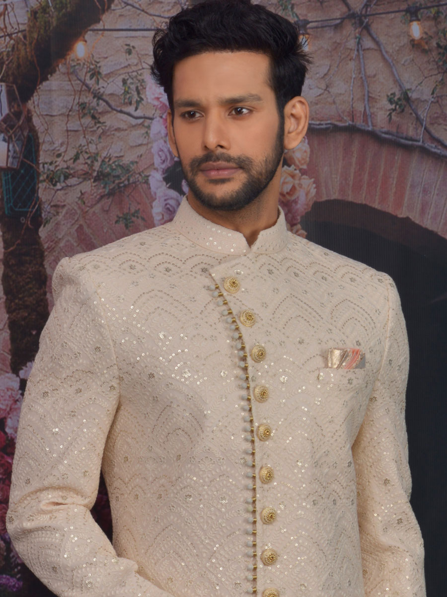 Light Coral Pink Faux Georgettek Embroidered Wedding Sherwani