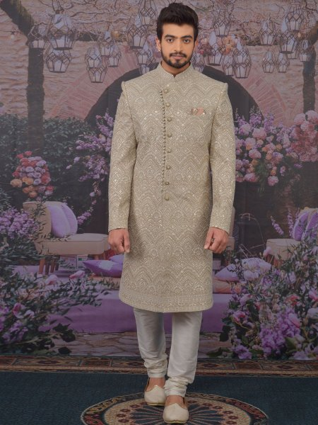 Beige Yellow Faux Georgette Embroidered Wedding Sherwani
