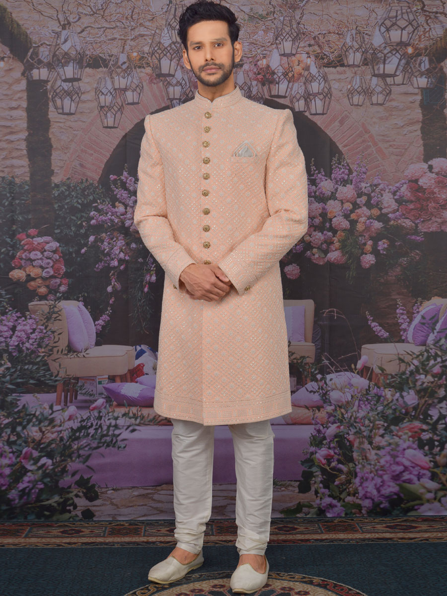 Coral Pink Faux Georgette Embroidered Wedding Sherwani