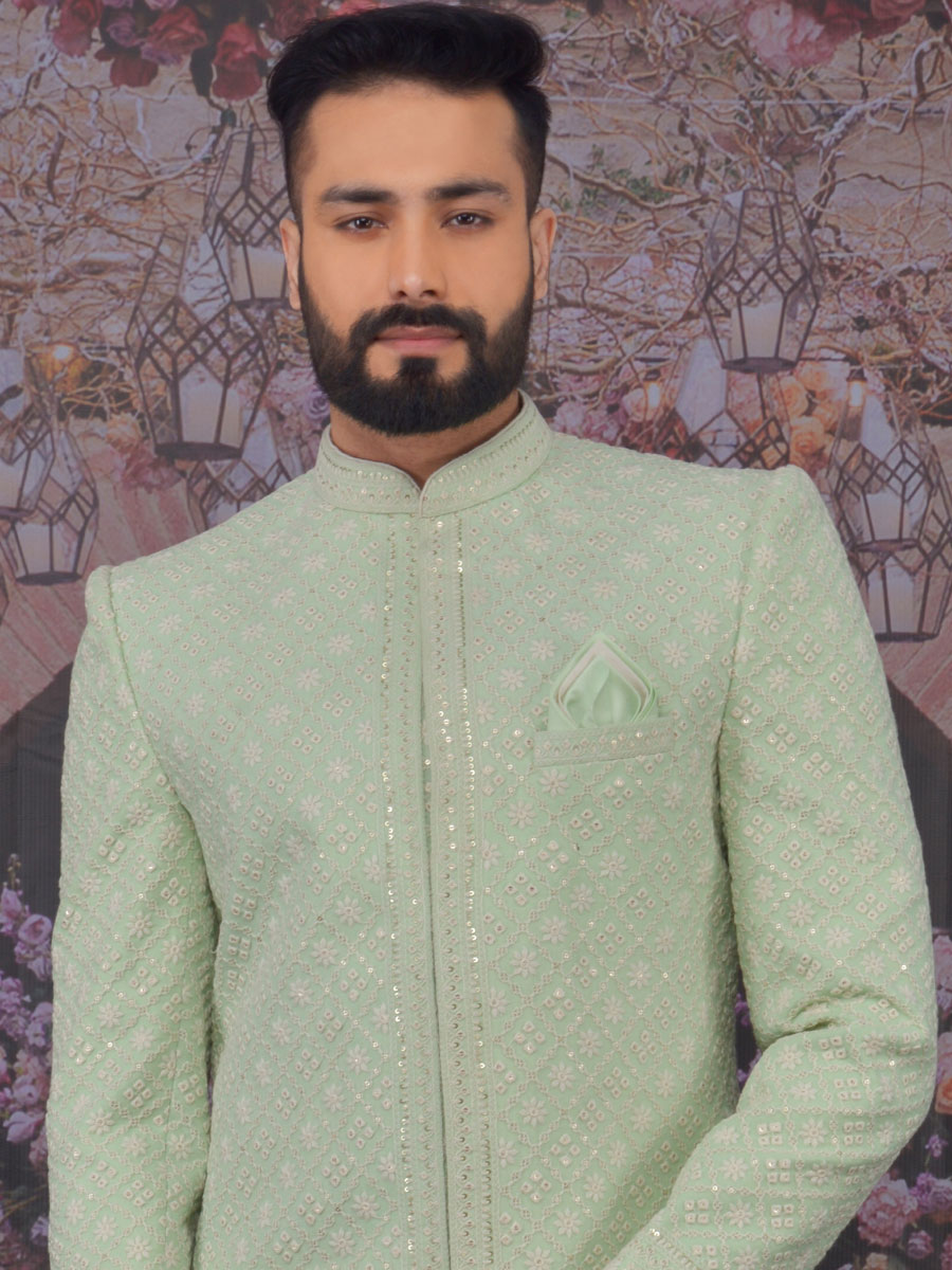 Celadon Green Faux Georgette Embroidered Wedding Sherwani