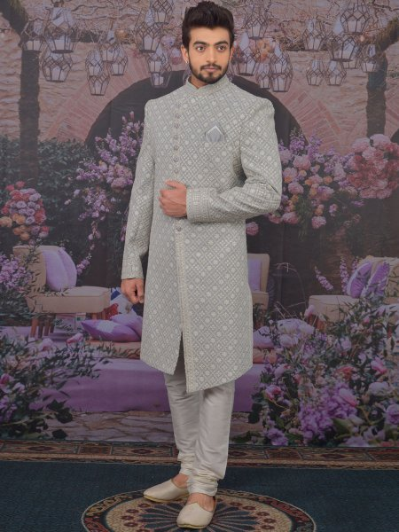 Light Gray Faux Georgettek Embroidered Wedding Sherwani