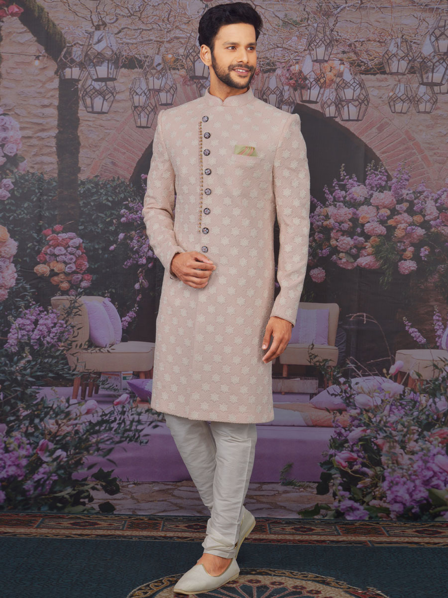 Light Pink Faux Georgette Embroidered Wedding Sherwani