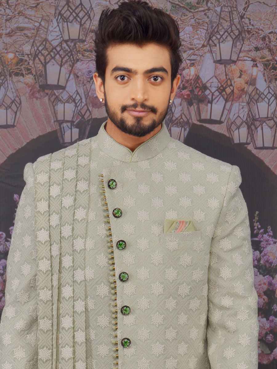 Tea Green Faux Georgette Embroidered Wedding Sherwani