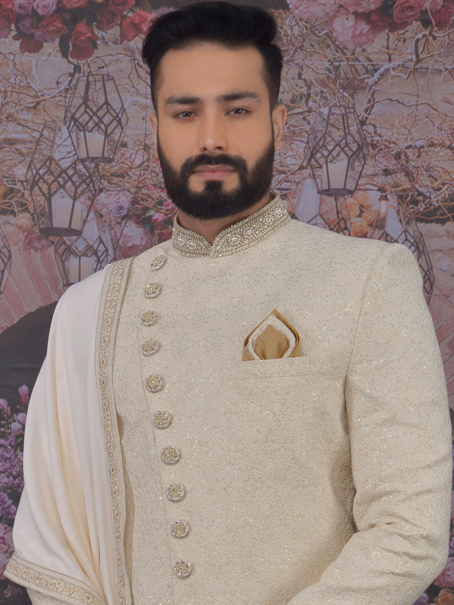 Cream Yellow Art BanarasI Silk Embroidered Wedding Sherwani