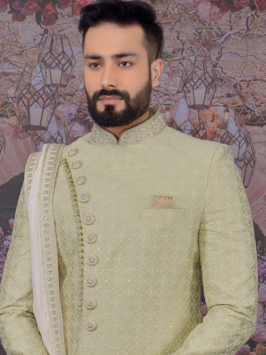 Tea Green Art BanarasI Silk Embroidered Wedding Sherwani