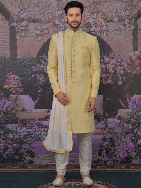 Light Yellow Art BanarasI Silk Embroidered Wedding Sherwani