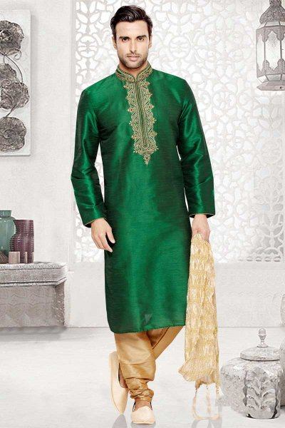 Pine Green Dupion Slik and Art silk Embroidered Festival Kurta