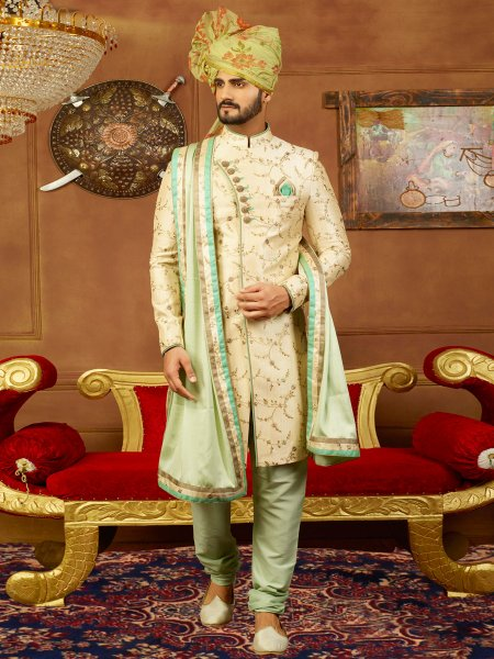 Beige Yellow Art Banarasi Silk Embroidered Wedding Sherwani