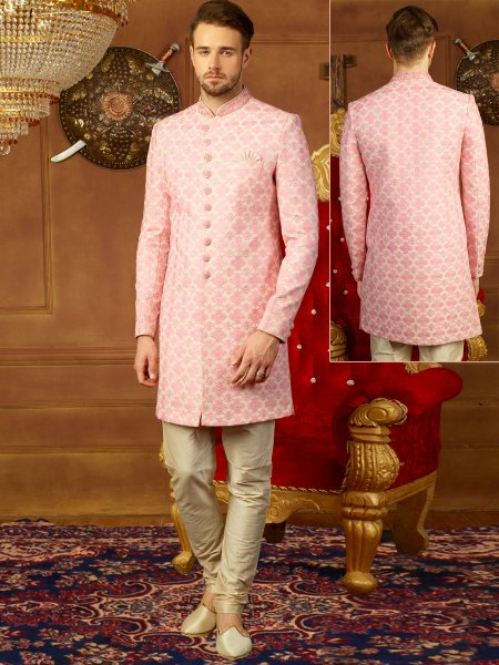 Rose Pink Art Banarasi Silk Embroidered Wedding Sherwani