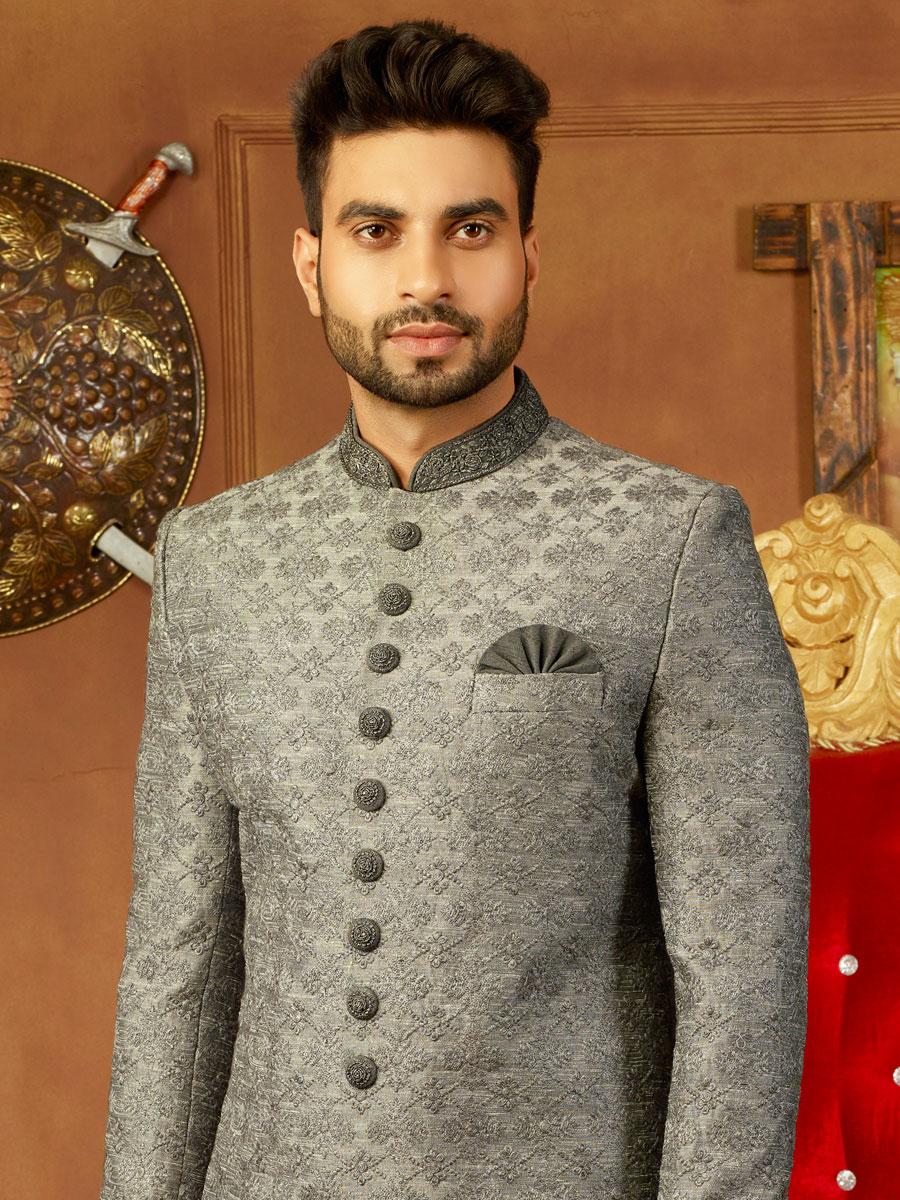 Silver Gray Art Banarasi Silk Embroidered Wedding Sherwani