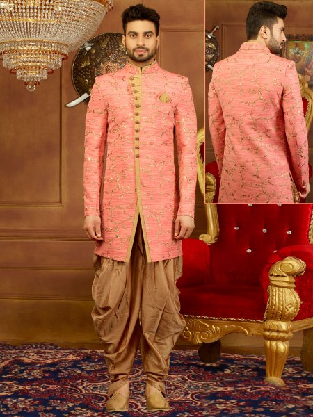 Salmon Pink Art Banarasi Silk Embroidered Wedding Sherwani