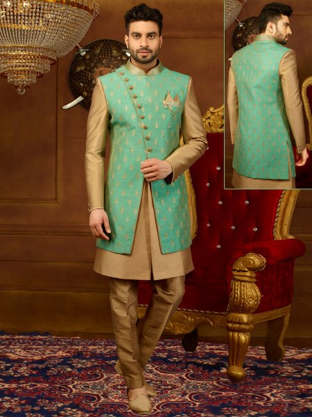 Wheat Brown And Moss Green Art Banarasi Silk Embroidered Wedding Sherwani