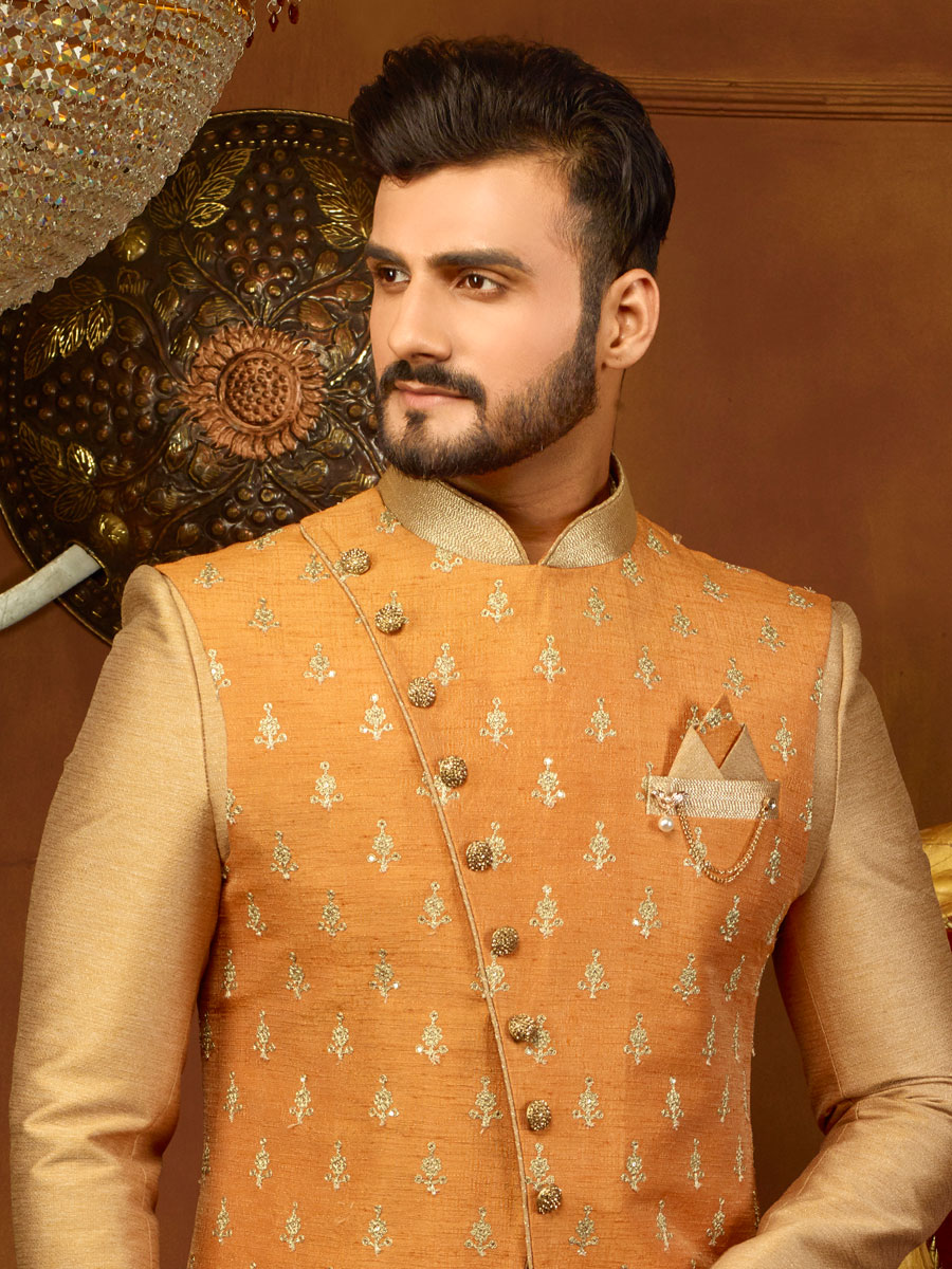 Wheat Brown And Coral Orange Art Banarasi Silk Embroidered Wedding Sherwani
