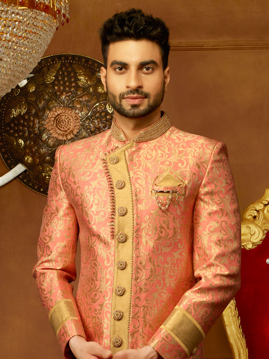 Wheat Brown And Pink Orange Jacquard Silk And Brocade Embroidered Wedding Sherwani