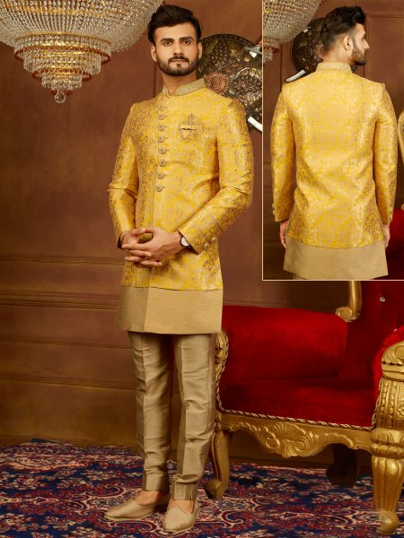Maize Yellow Jacquard Silk And Brocade Embroidered Wedding Sherwani