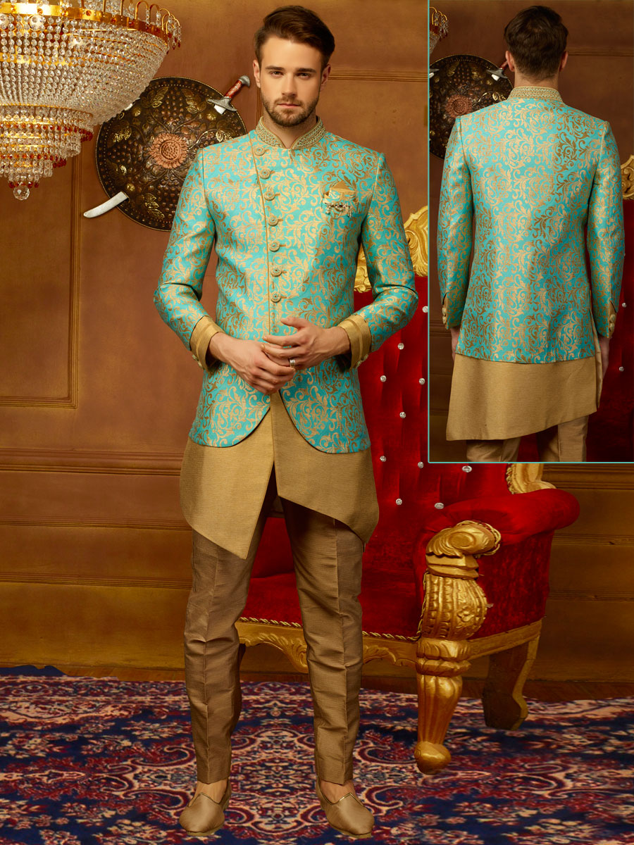 Wheat Brown And Electric Blue Jacquard Silk And Brocade Embroidered Wedding Sherwani