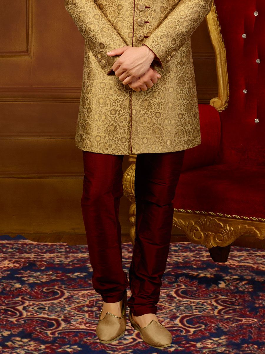 Cream Yellow Jacquard Silk And Brocade Embroidered Wedding Sherwani