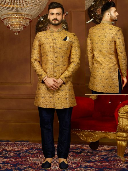 Amber Yellow Jacquard Silk And Brocade Embroidered Wedding Sherwani