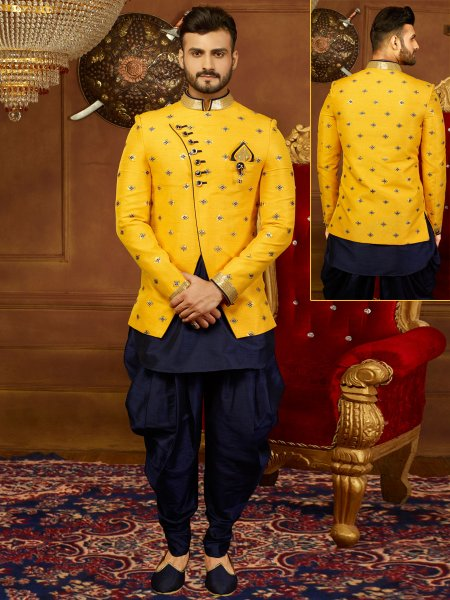 Maize Yellow And Midnight Blue Art Banarasi Silk Embroidered Wedding Sherwani