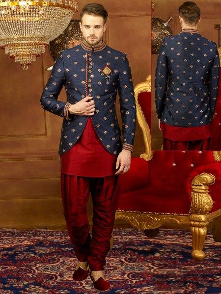 Midnight Blue And Venetian Red Art Banarasi Silk Embroidered Wedding Sherwani