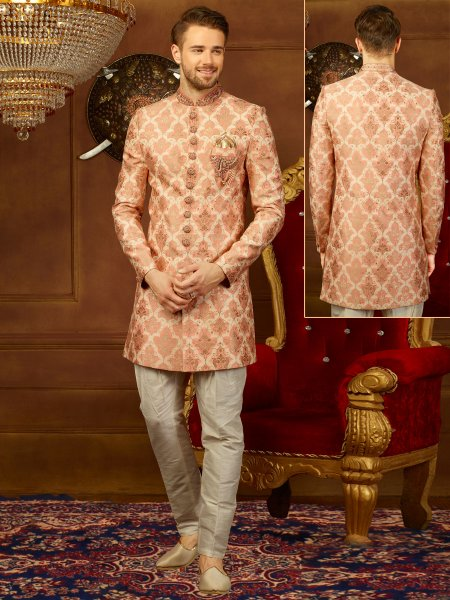 Beige Yellow Jacquard Silk And Brocade Embroidered Wedding Sherwani