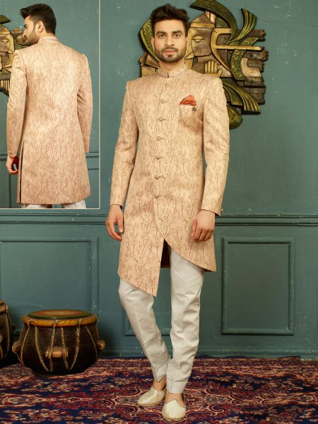 Cream Yellow Imported Jacquard Embroidered Wedding Sherwani