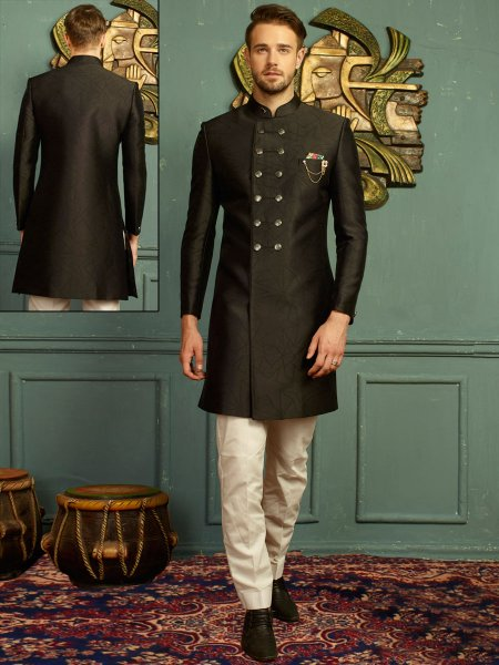 Arsenic Gray Imported Jacquard Embroidered Wedding Sherwani