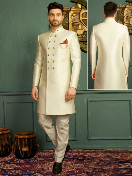 Off White Imported Jacquard Embroidered Wedding Sherwani